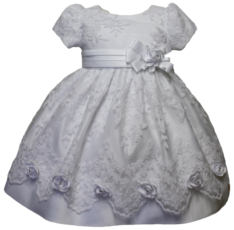 Baby Flower Girls Christening Baptism Gown Dress and headband size 6M-9M-12M-18M-24M-2T-3T-4T /053 WHITE - myfamilystore