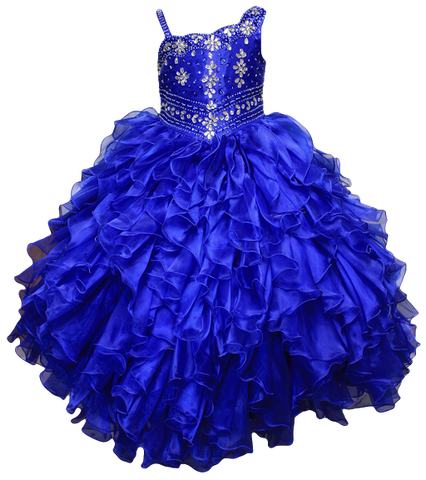Girl Teen Formal National Pageant Wedding Dance Party Graduation Wedding Flower Dress size 4-6-8-10-12-14-16-18-20 /#597 blue - myfamilystore