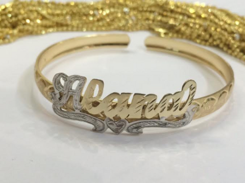 baby Personalized 14K gold overly any Name id Bracelet Bangle adjustable - myfamilystore