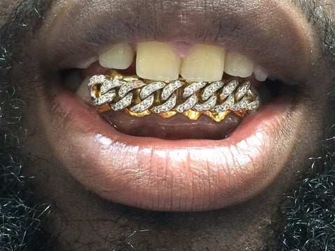 14k Gold removable Gold Teeth Caps Grillz & mold kit 6 teeth /Cuban with cz - myfamilystore