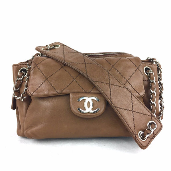CHANEL Brown Lambkin Satchel Bag