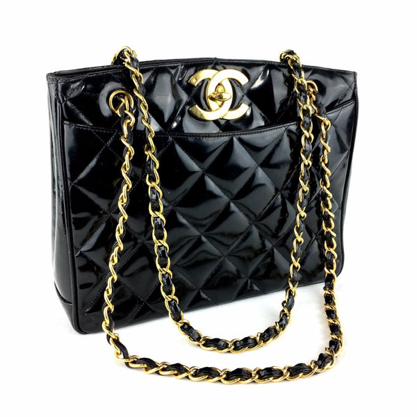 CHANEL Black Patent Leather Quilted Bag
