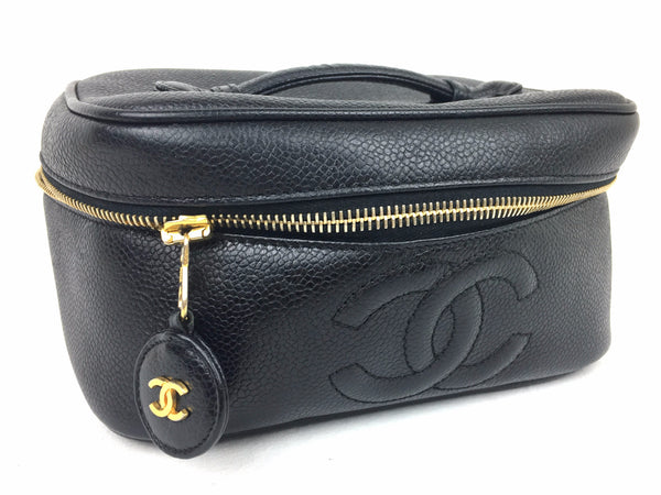 CHANEL Black Makeup Case (Caviar Leather)