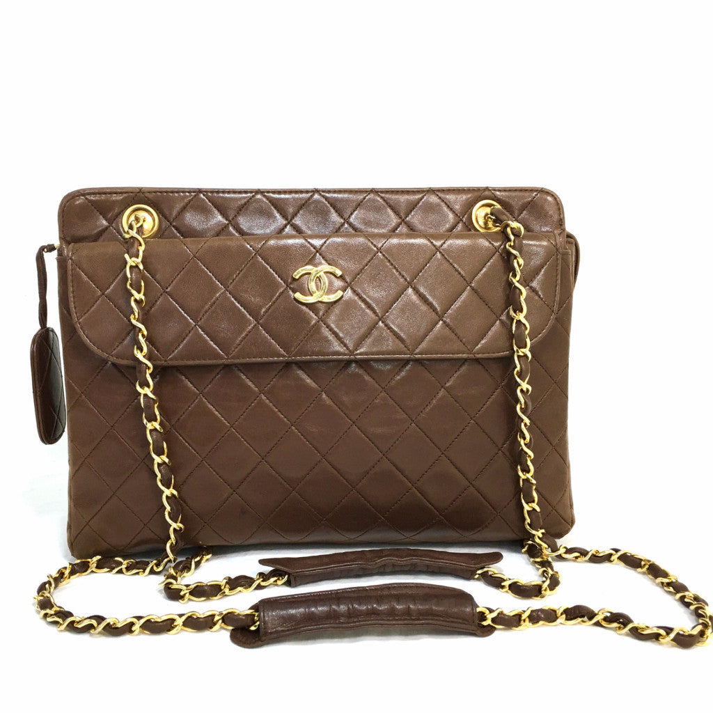 CHANEL Brown Quilted Lambskin Shoulder Chain Tote