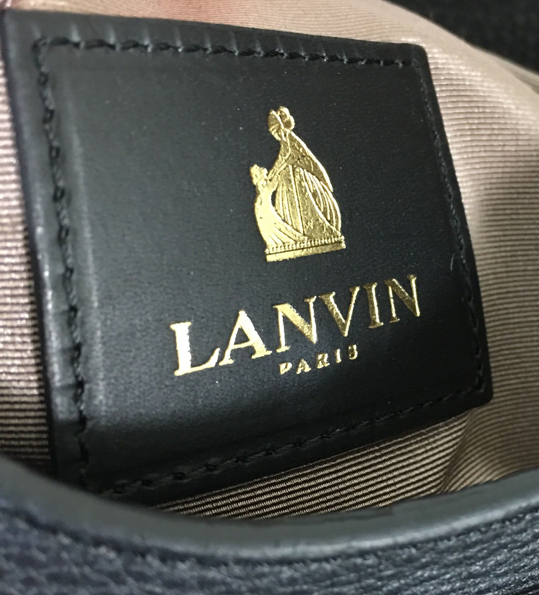 LANVIN Black Leopard Pony Hair Flap Clutch