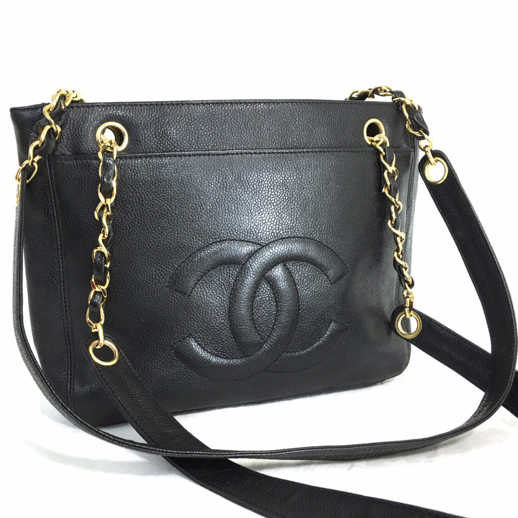 21ca2841fc0d CHANEL Caviar Black Timeless CC Two-Sided Chain Shoulder Bag – Pretty  Things Hoarder
