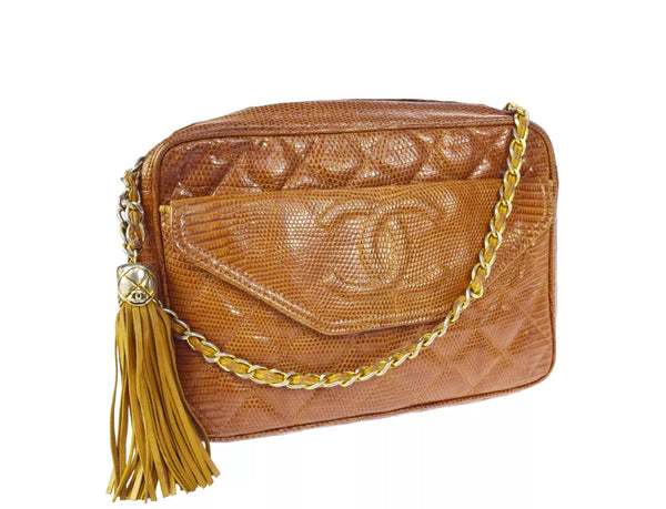 CHANEL Lizard Leather Crossbody Tassel Bag