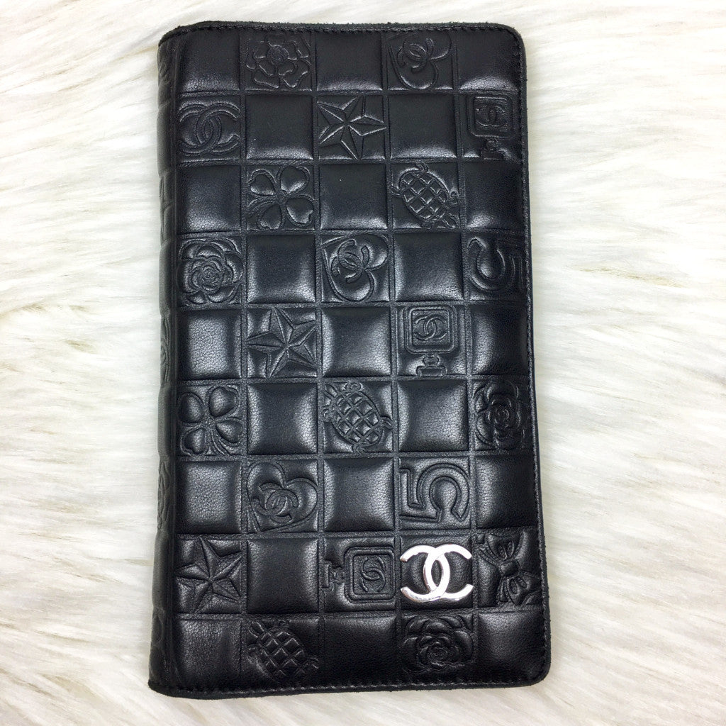 CHANEL Embossed Black Wallet