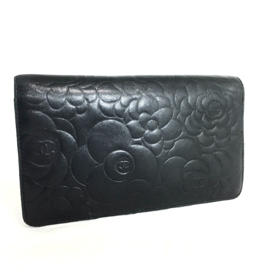 CHANEL Lambskin Camellia Embossed Black Wallet