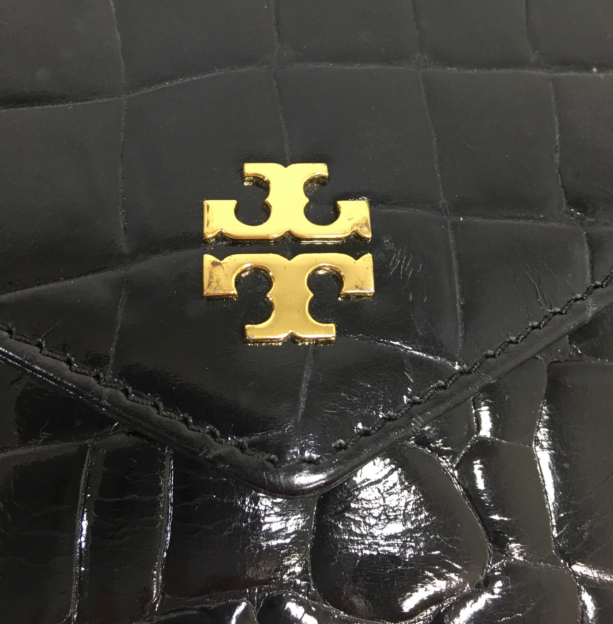 TORY BURCH Black Gator Envelope Clutch