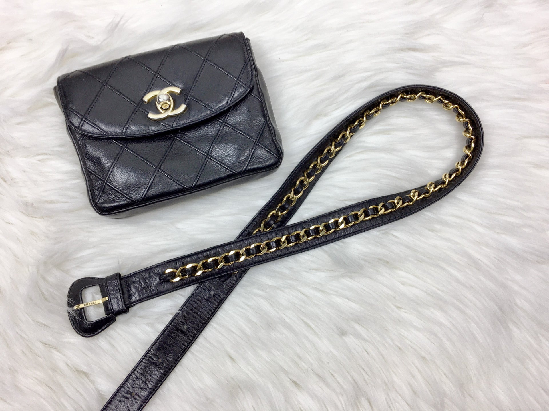eb9ef216de55 CHANEL Black Lambskin Quilted Bum Bag (Waist Bag) – Pretty Things ...