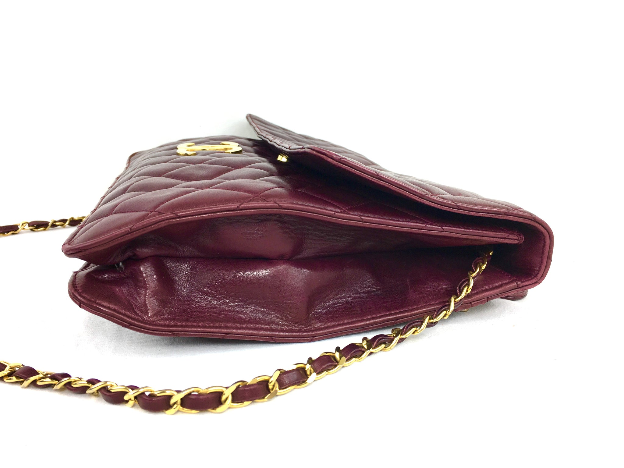 CHANEL Jumbo Quilted Burgundy Flap Bag