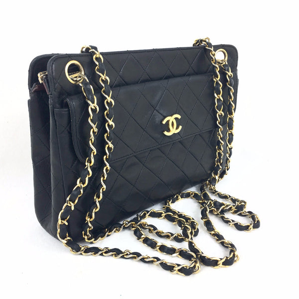 CHANEL Black Leather Quilted Crossbody Shoulder Bag