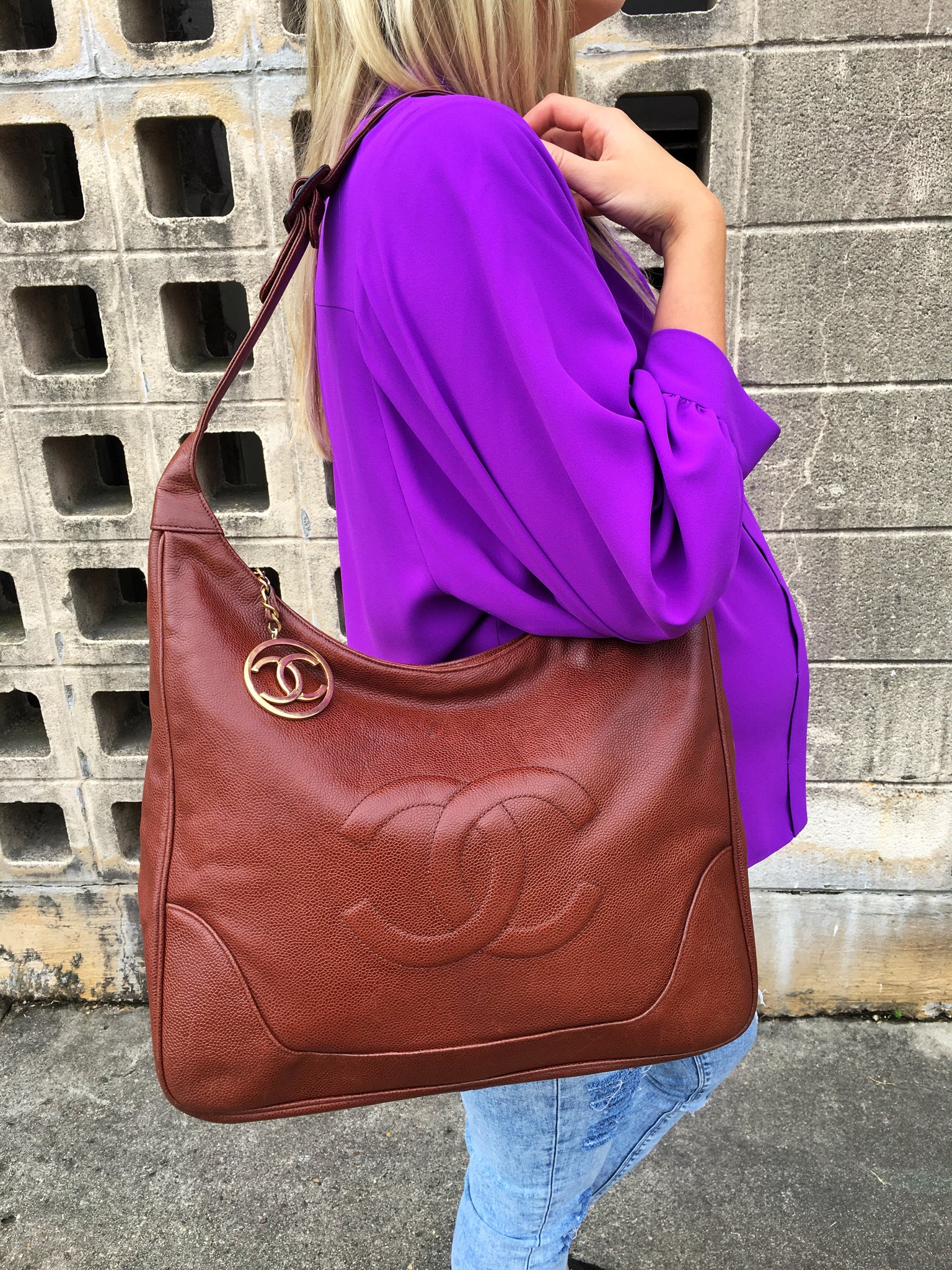 CHANEL Brown Caviar Leather Hobo Tote