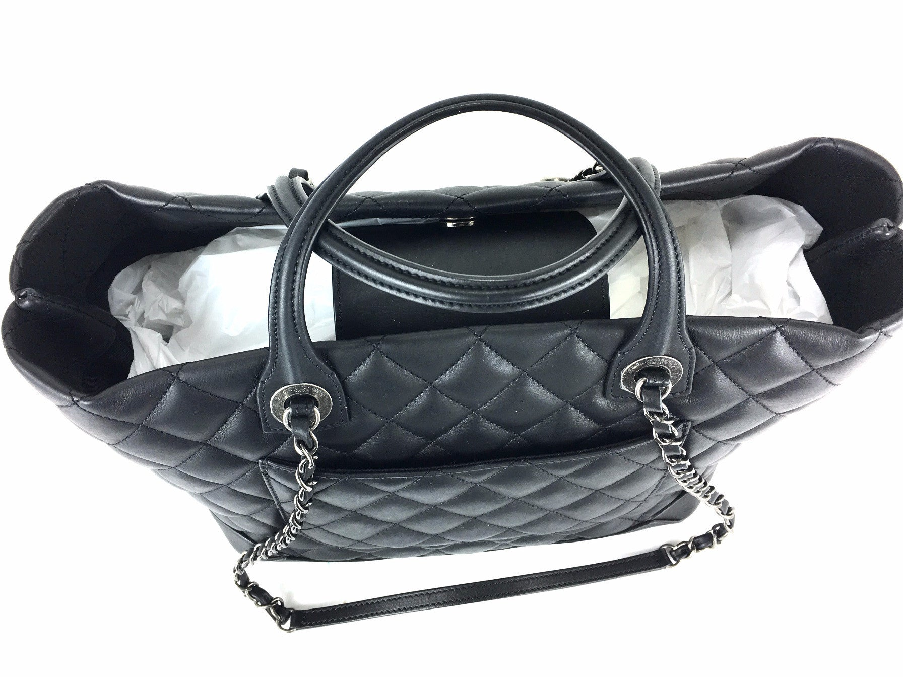 CHANEL Black Leather Quilted Charm Tote
