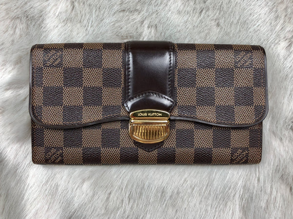 LOUIS VUITTON Damier Ebene Sistina Long Wallet