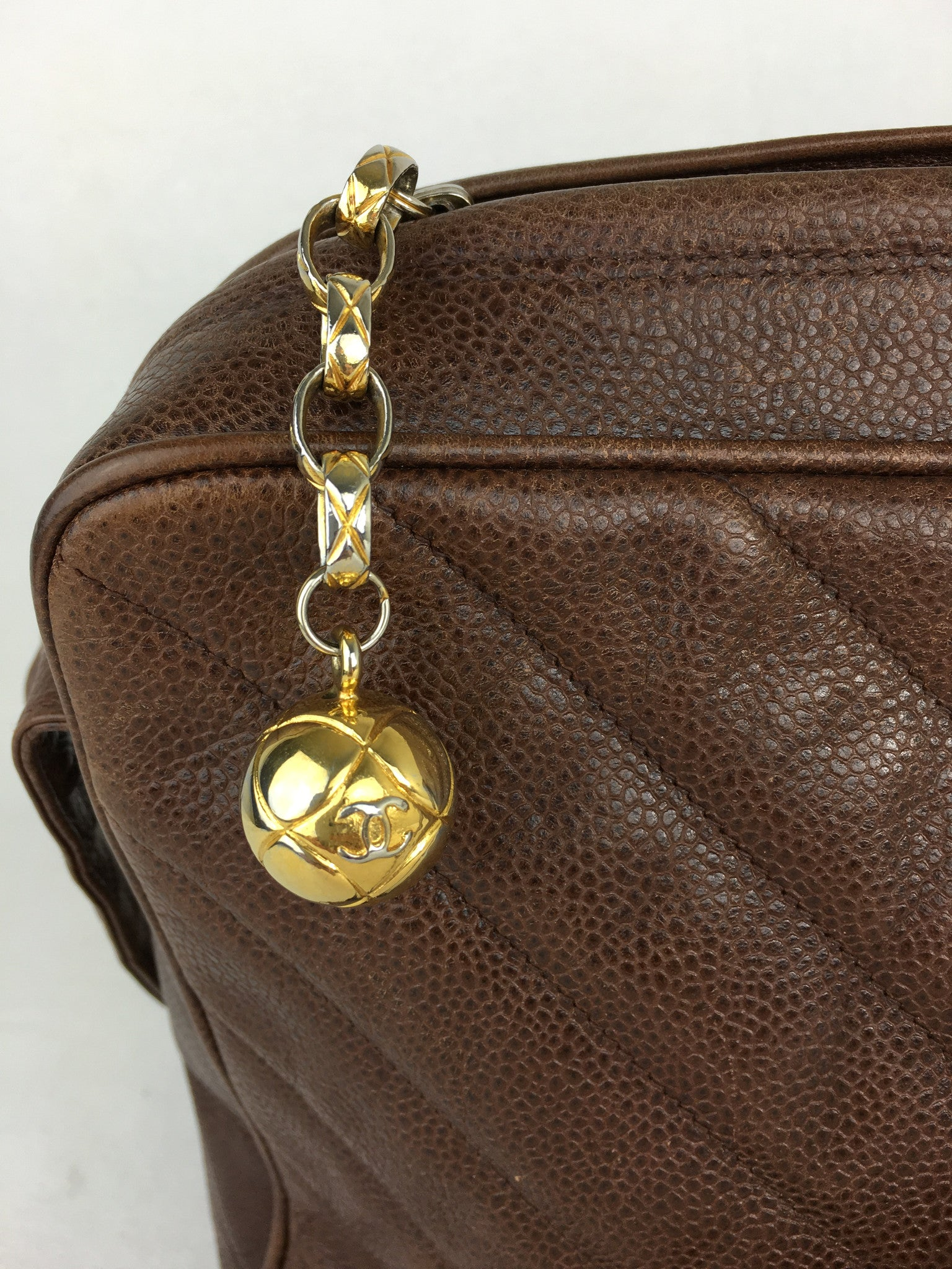CHANEL Brown Caviar Leather Crossbody