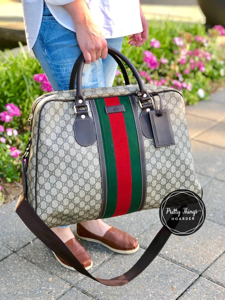 GUCCI GG Supreme Web Stripe Duffel Bag