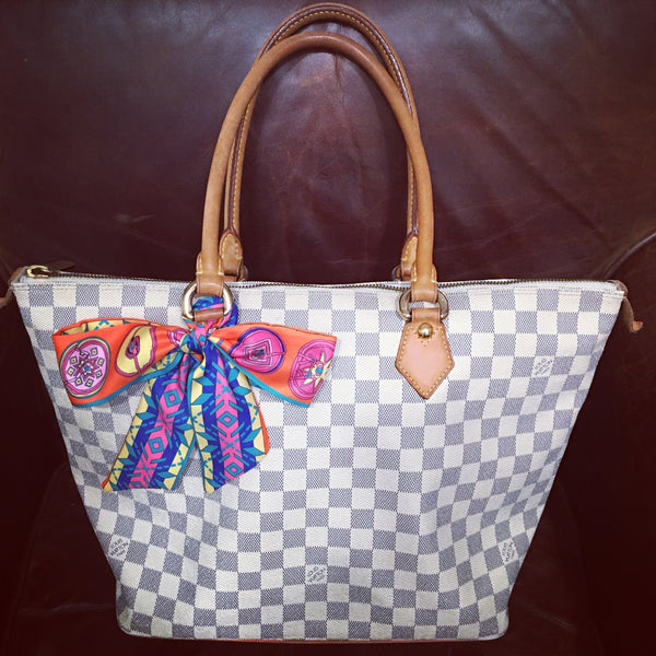 LOUIS VUITTON Damier Azur Saleya MM + FREE Twilly Scarf