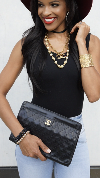 CHANEL Lambskin Black Quilted Evening Clutch