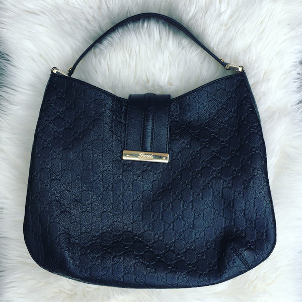 GUCCI Guccissima Black Hobo Bag