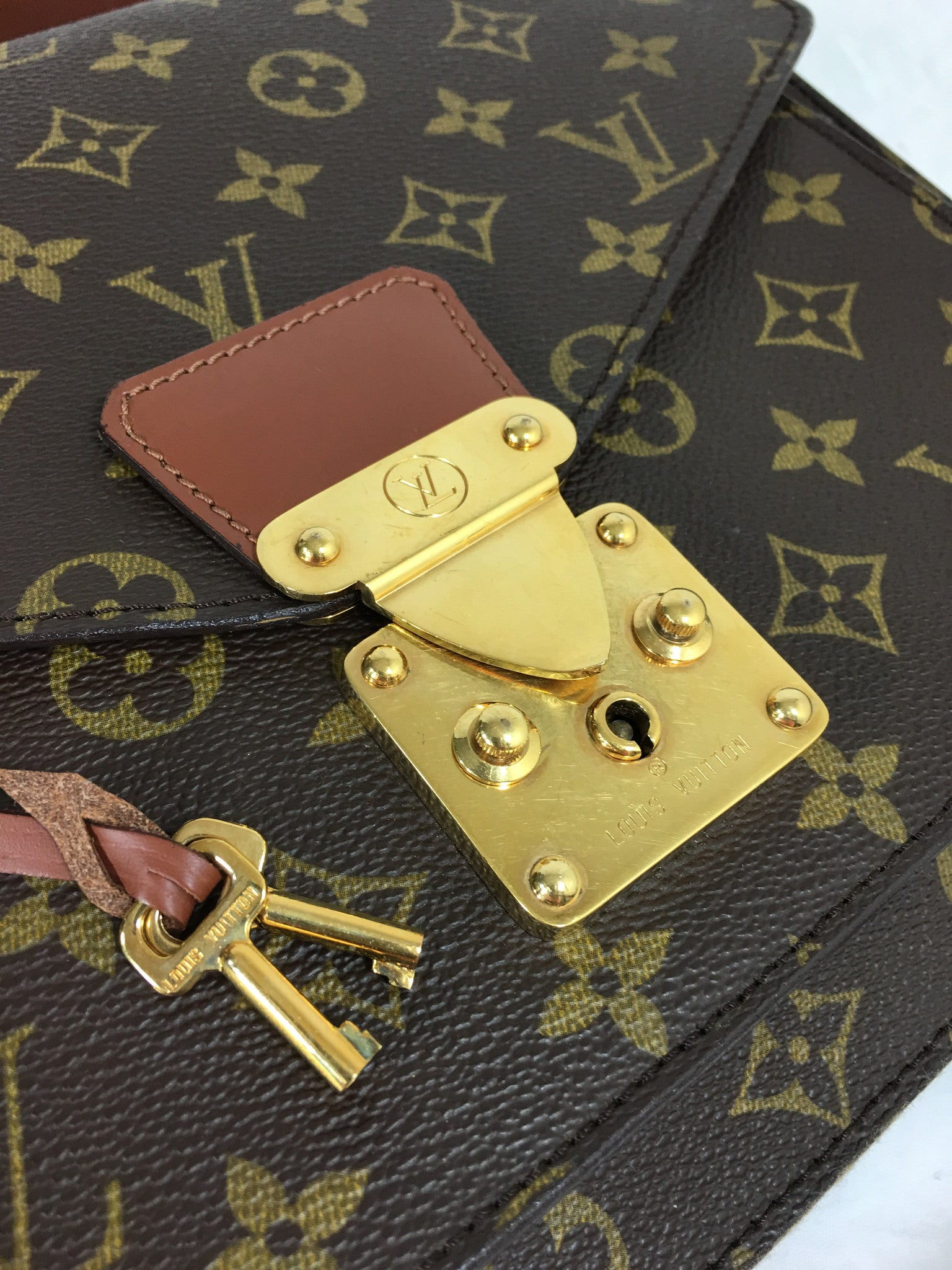LOUIS VUITTON Monogram Canvas Monceau Bag w/ Strap