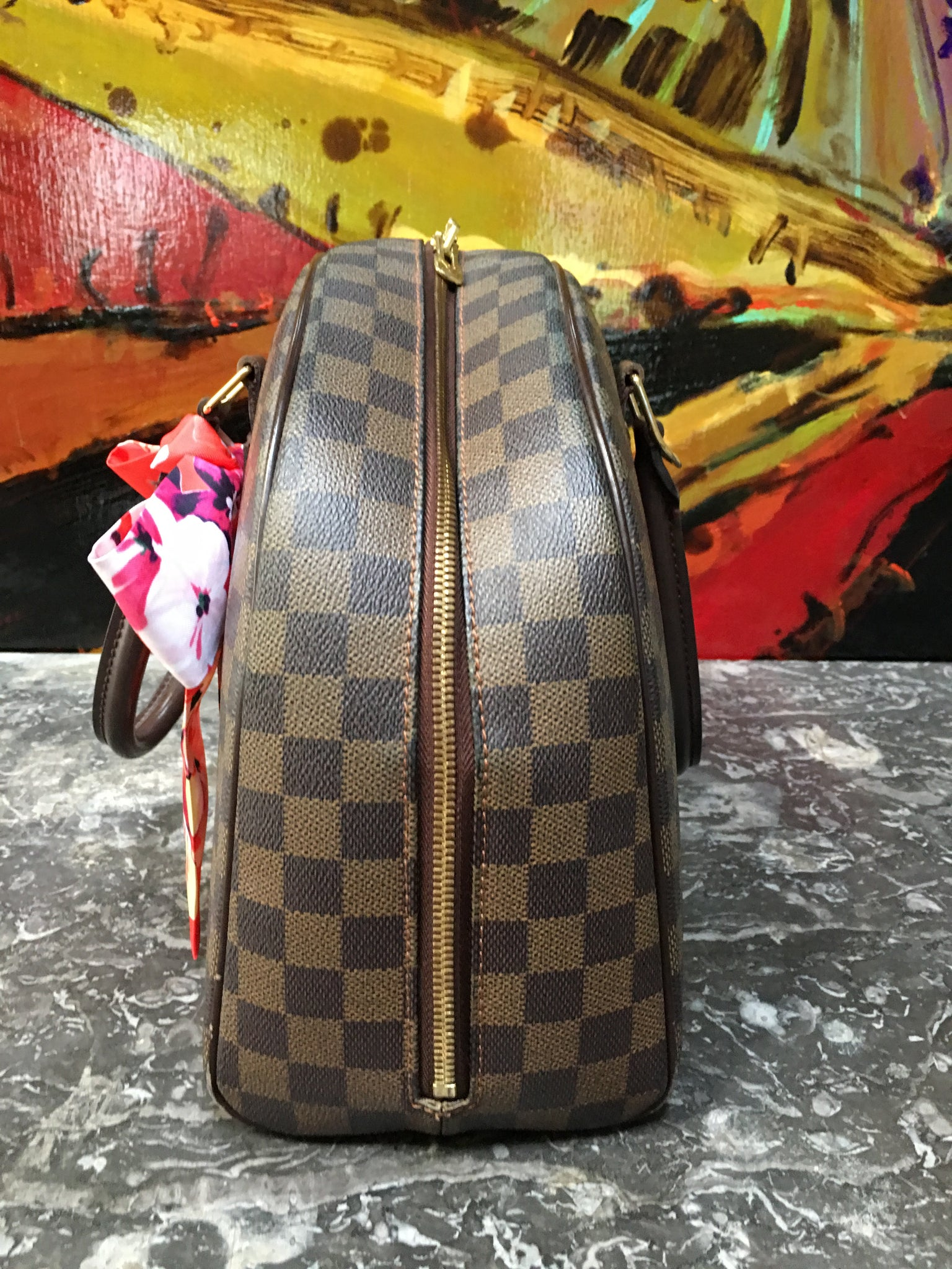 LOUIS VUITTON Damier Ebene Nolita Bag + FREE Twilly Scarf