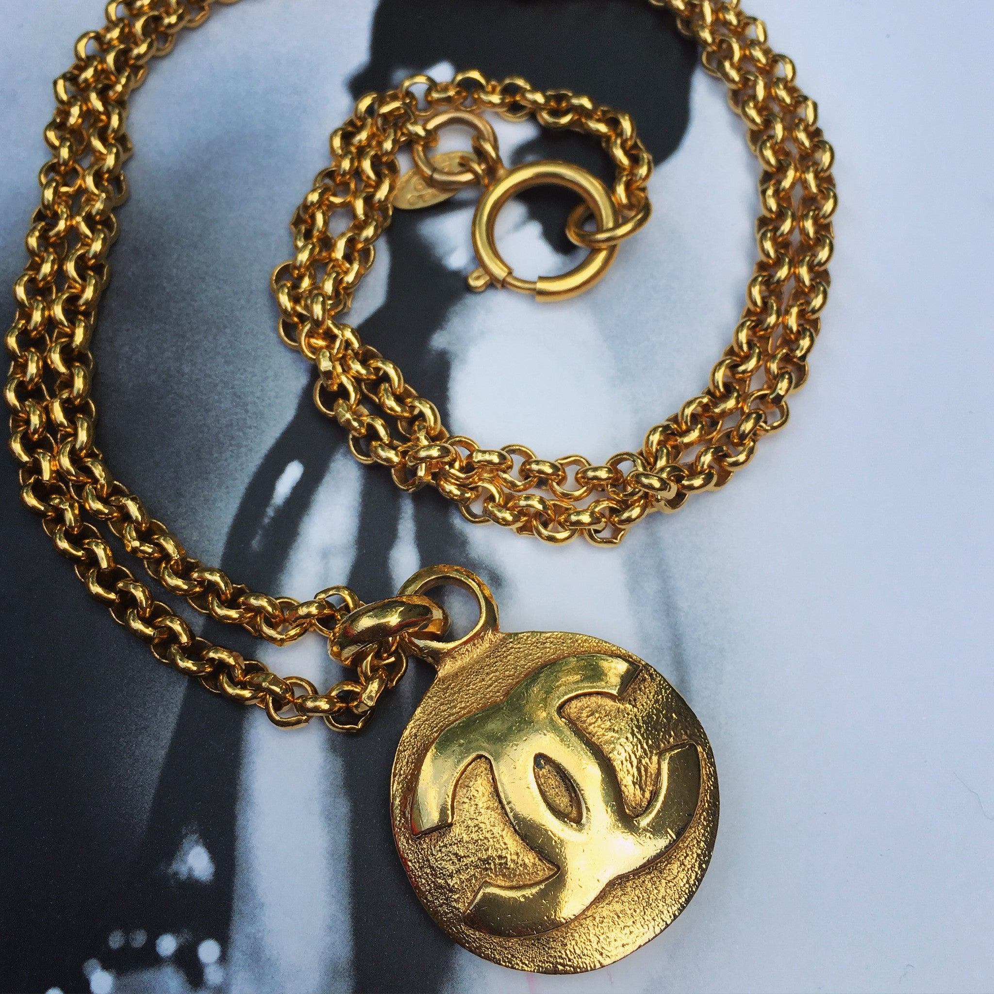 CHANEL Gold Necklace with CC Pendant