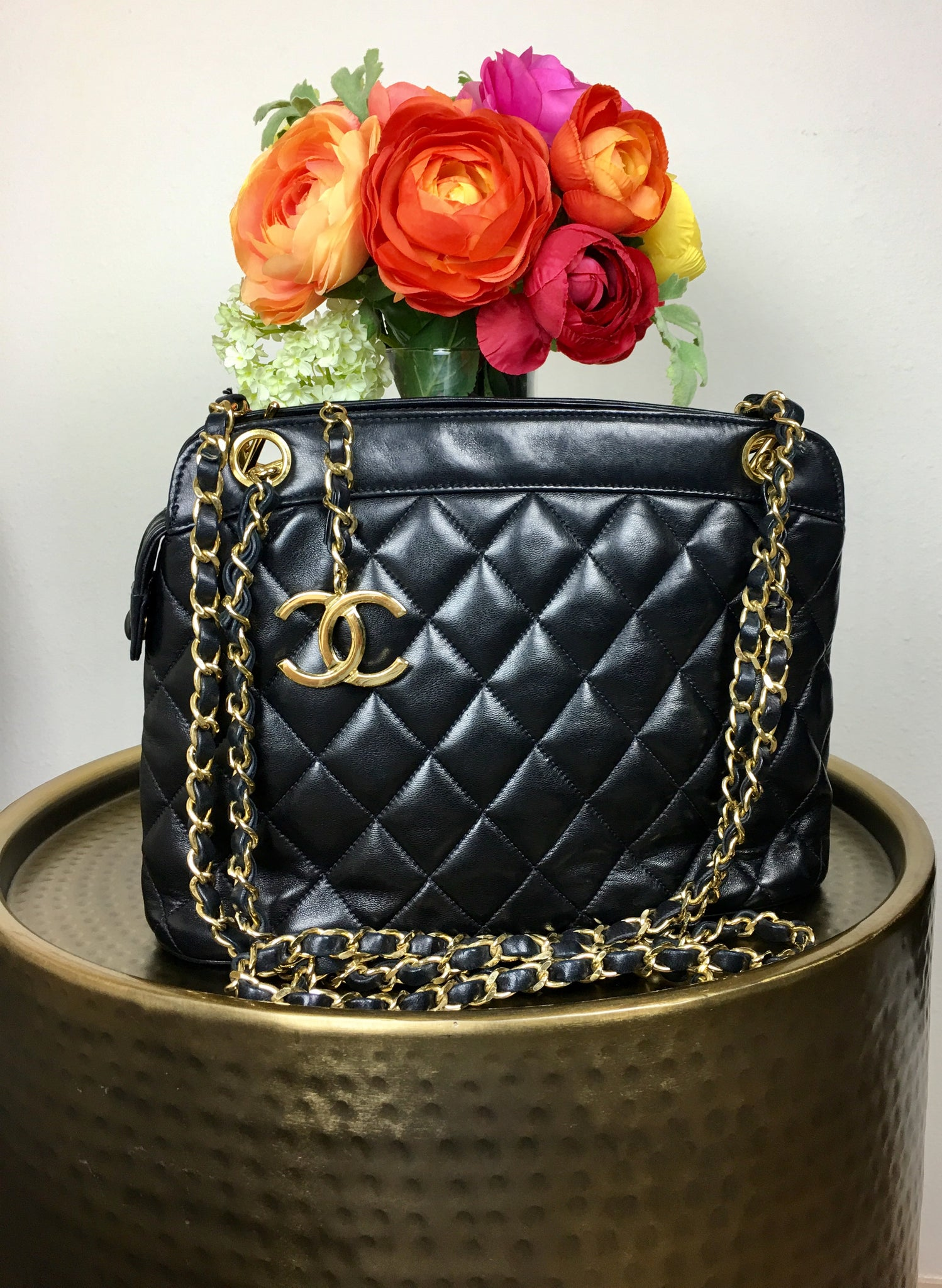 CHANEL Black Lambskin Quilted Shoulder Bag