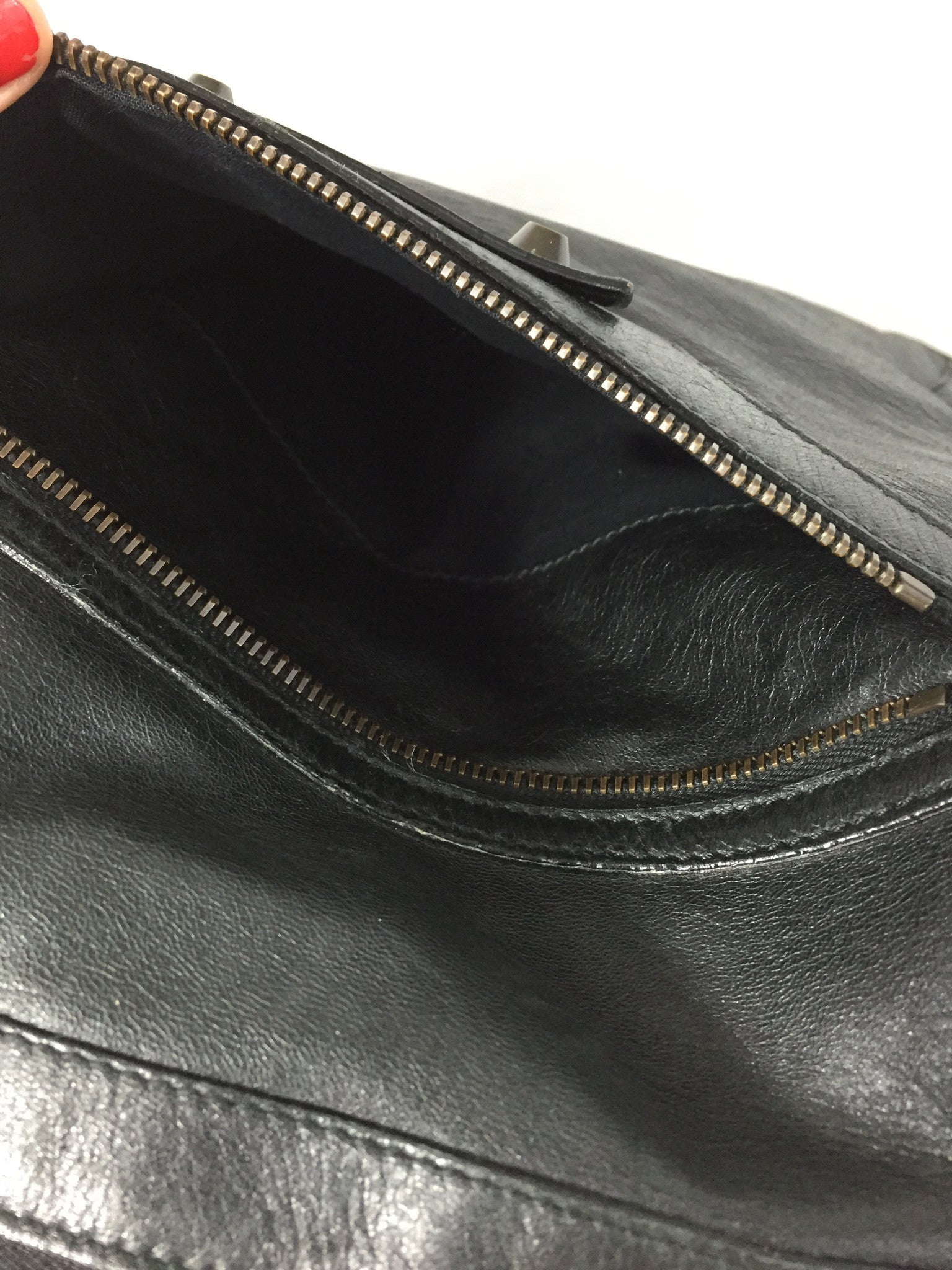 BALENCIAGA Black Leather Shoulder Hobo Bag