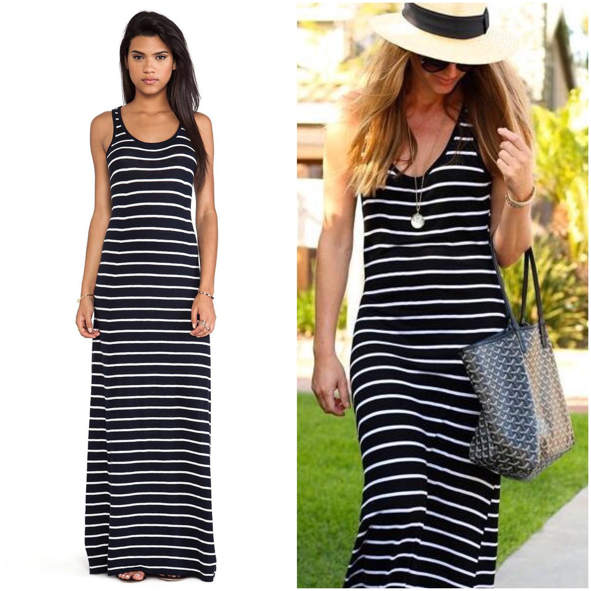 VINCE Striped Maxi Dress (SMALL)