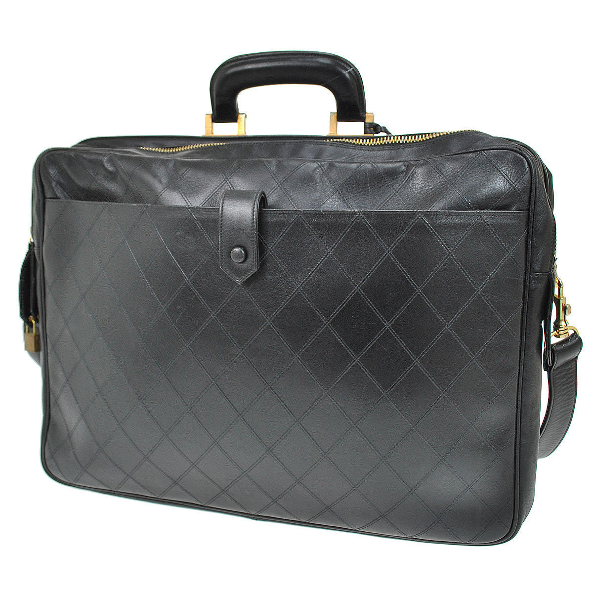 CHANEL Black Lambskin Quilted Messenger Travel Bag