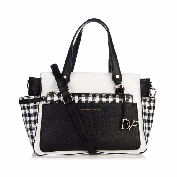 [ NEW ] DVF Voyage Gingham Leather Satchel Bag With Wristlet