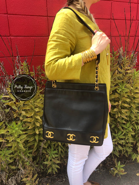 CHANEL Triple CC Black Lambskin Tote