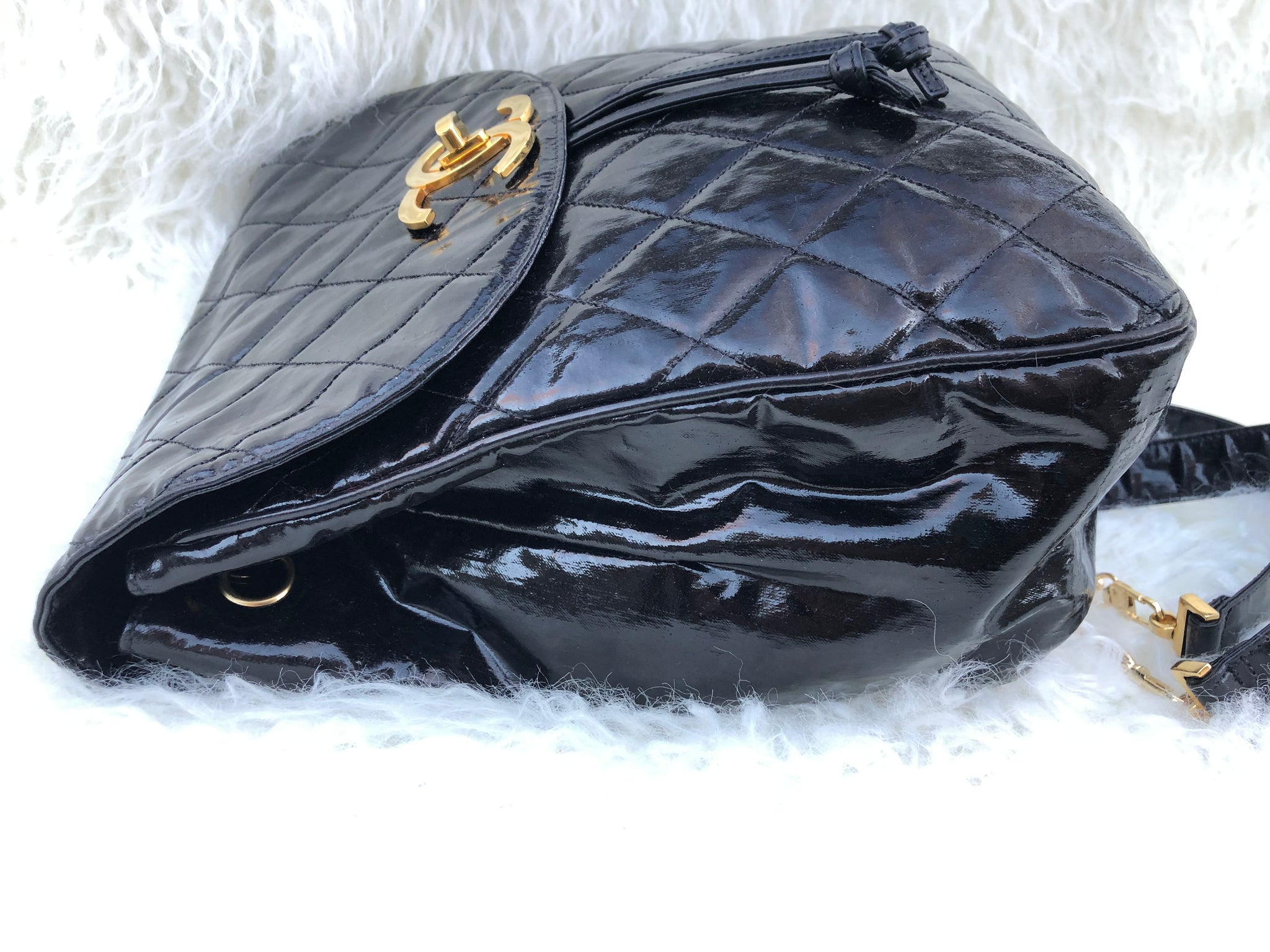 CHANEL Black Vinyl Backpack