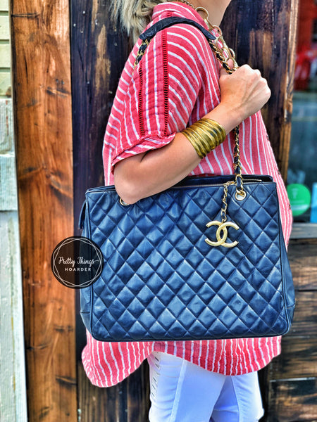 CHANEL Dark Navy Lambskin Quilted CC Charm Shoulder Bag