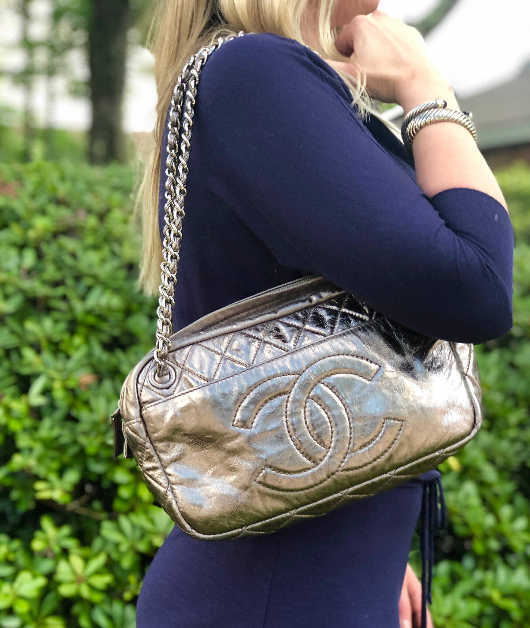 CHANEL Metallic Silver Handbag