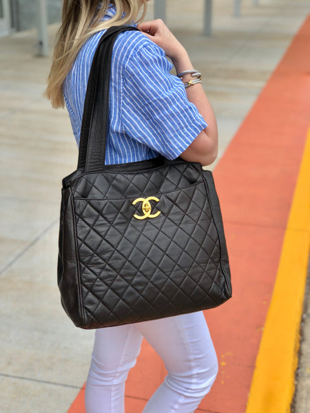 CHANEL Lambskin Dark Brown Large Tote