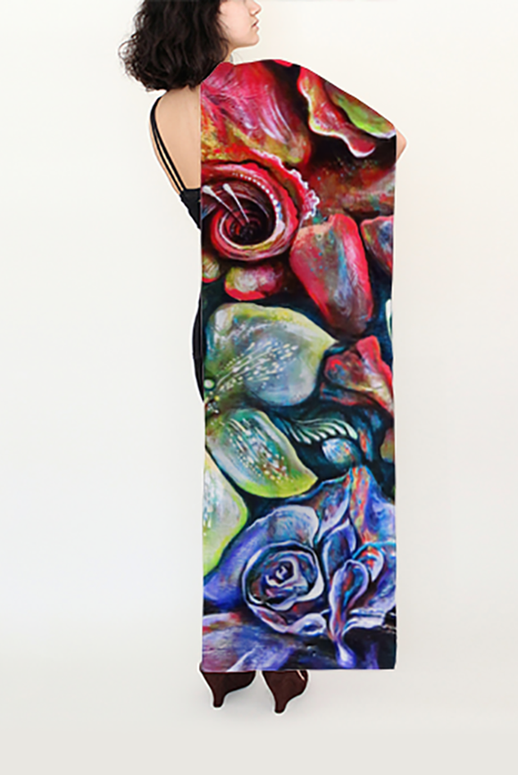 In Living Colour Long Silk Scarf - Secret Lives...