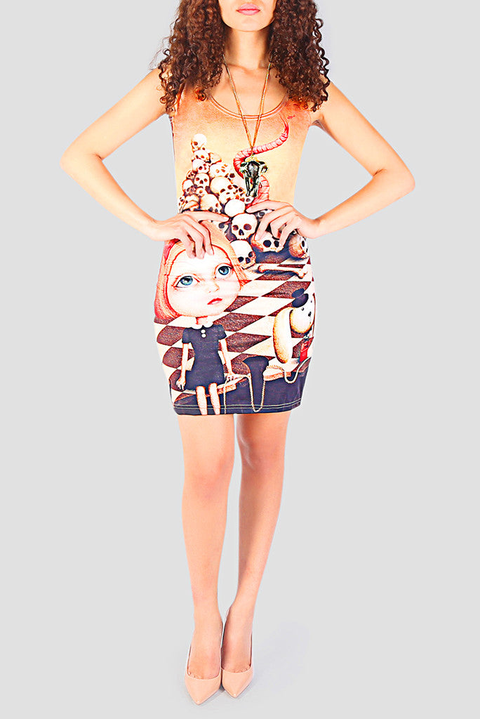 Crazy Alice Bodycon Dress - Secret Lives...