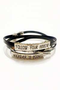 Left Turns Vegan Leather Bracelet - Secret Lives...