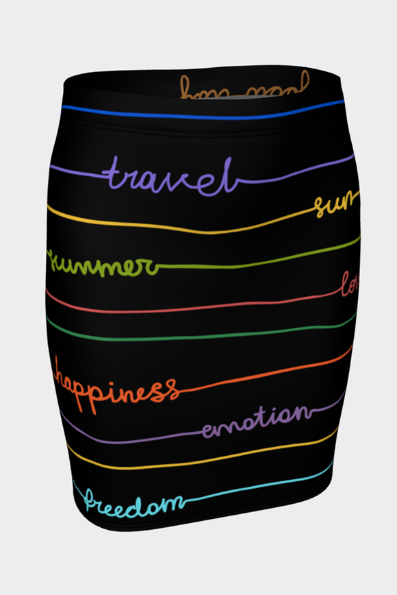 Good Vibrations Fitted Skirt - Secret Lives...