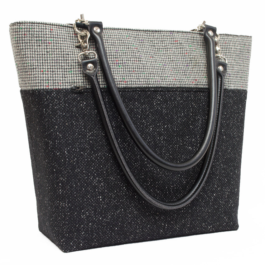 Bits of Color on a Small Black and White Houndstooth Wool Shoulder Bag
