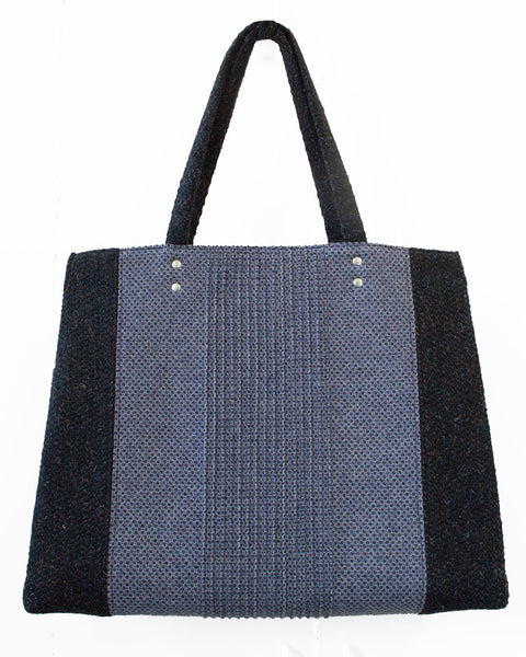 Blue and Black Wool Honeycomb Tote