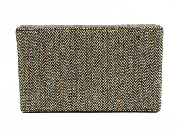 Brown and Orange Herringbone Clutch