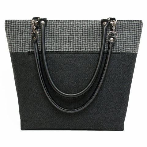 Black and Gray Houndstooth Wool Shoulder Bag