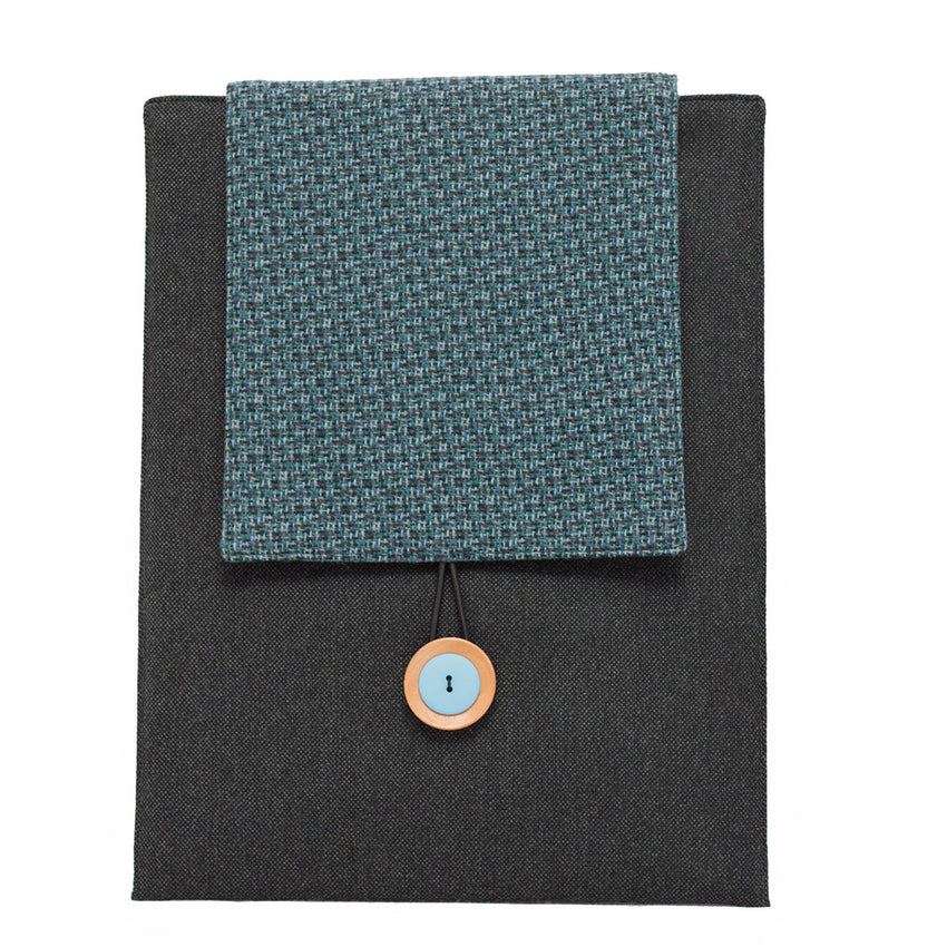 Blue and Gray Honeycomb on Two-Tone Gray