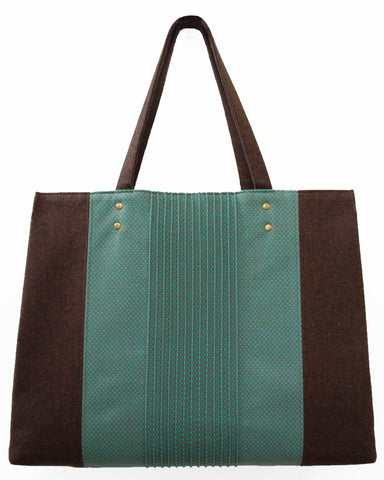A Bright Blue/Green and Brown Wool Tote