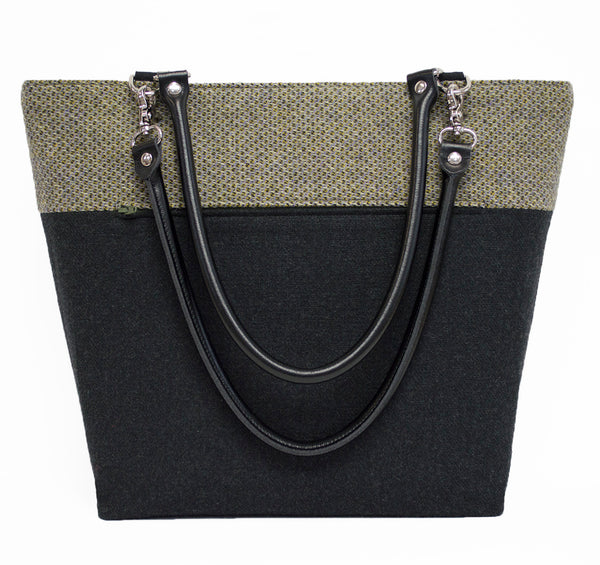 Lavender and Chartreuse, Cream and Black Wool Shoulder Bag