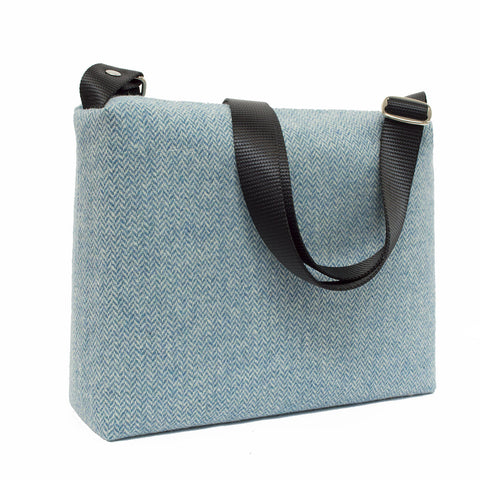 Sweet Azure Blue and Vanilla Herringbone Crossbody Bag